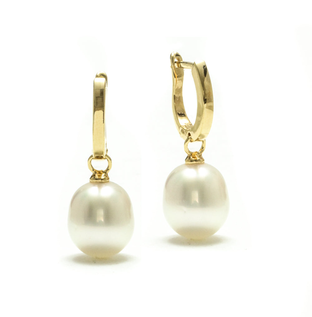 9MM Australian South Sea Pearl Drop Pearl Huggie Hoop Earrings