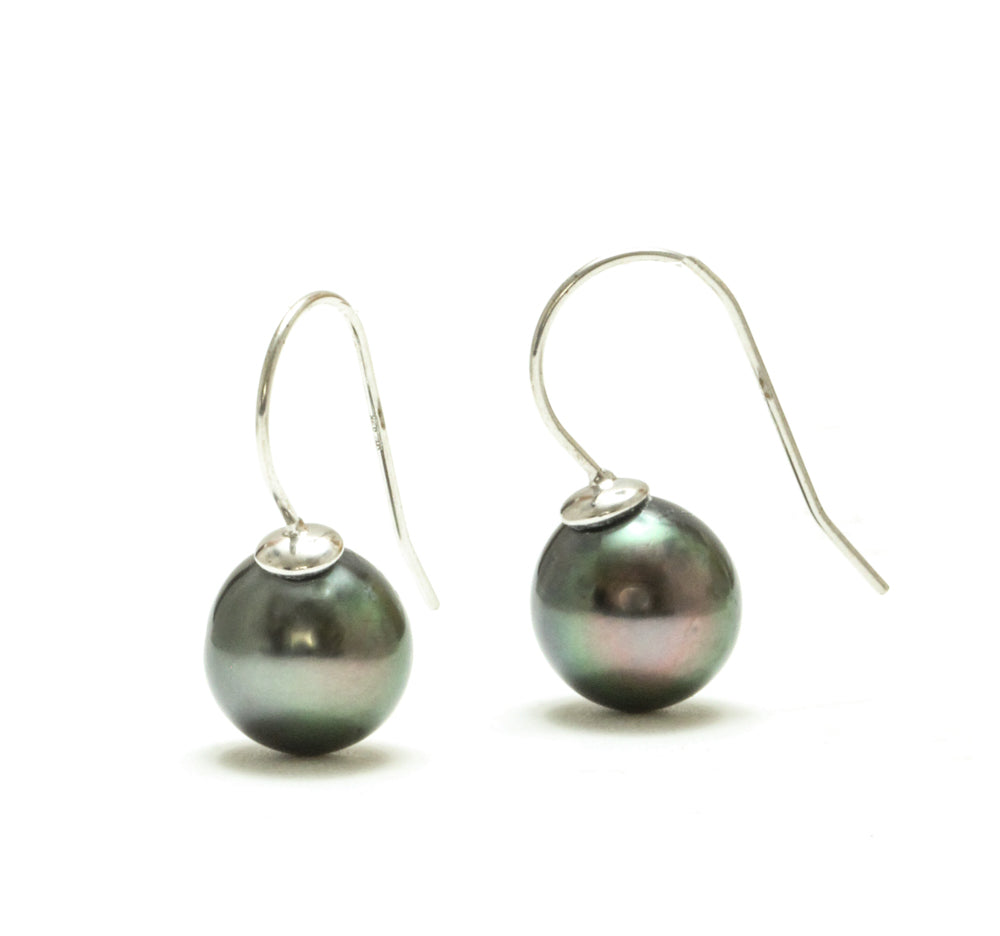 9MM Tahitian Pearl Wire Earrings