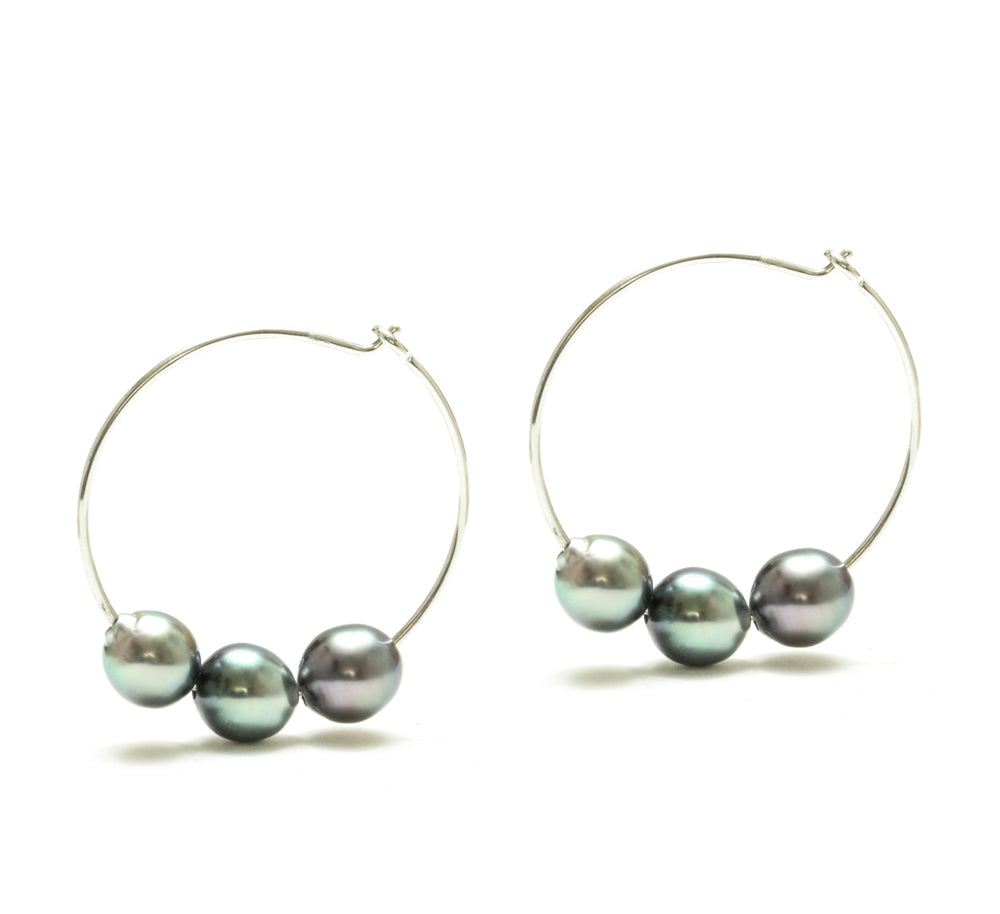 Tahitian Pearl Hoop Earrings