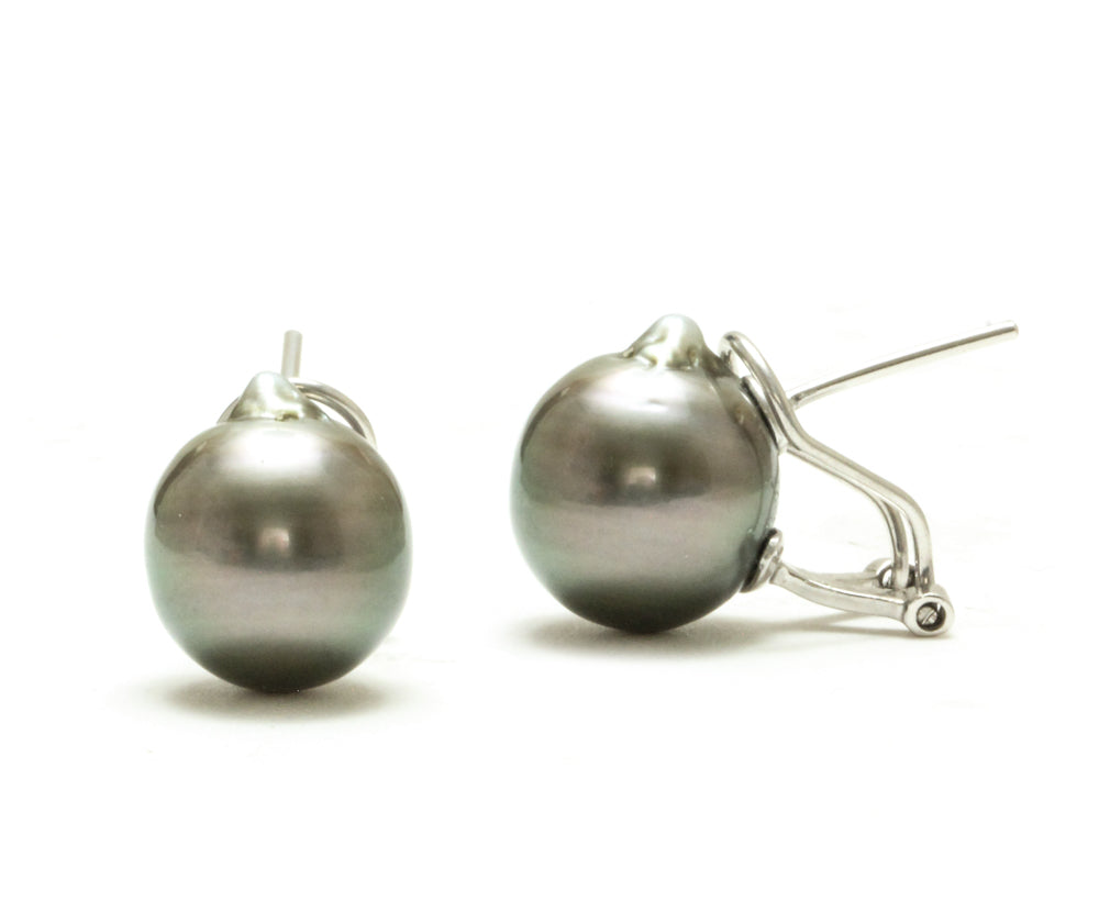 11MM Baroque Tahitian Pearl Omega Back Earrings