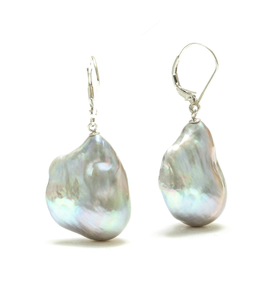 17MM Silver Baroque Pearl Drop Earrings