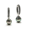 11MM Tahitian Pearl Drops On Removable Spinel Pave Hoop Earrings