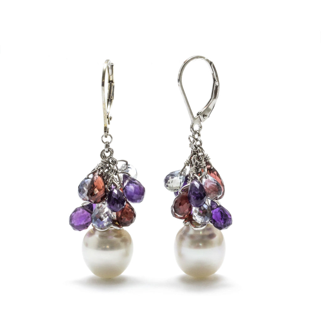 11MM Australian South Sea Pearl & Gem Briolette Earrings