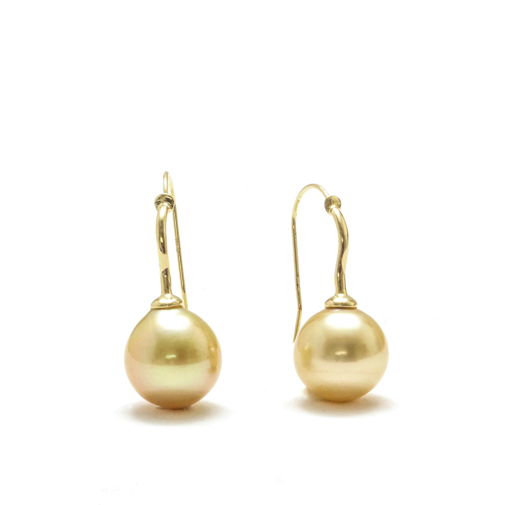 12MM Philippine Golden South Sea Pearl Drop Earrings