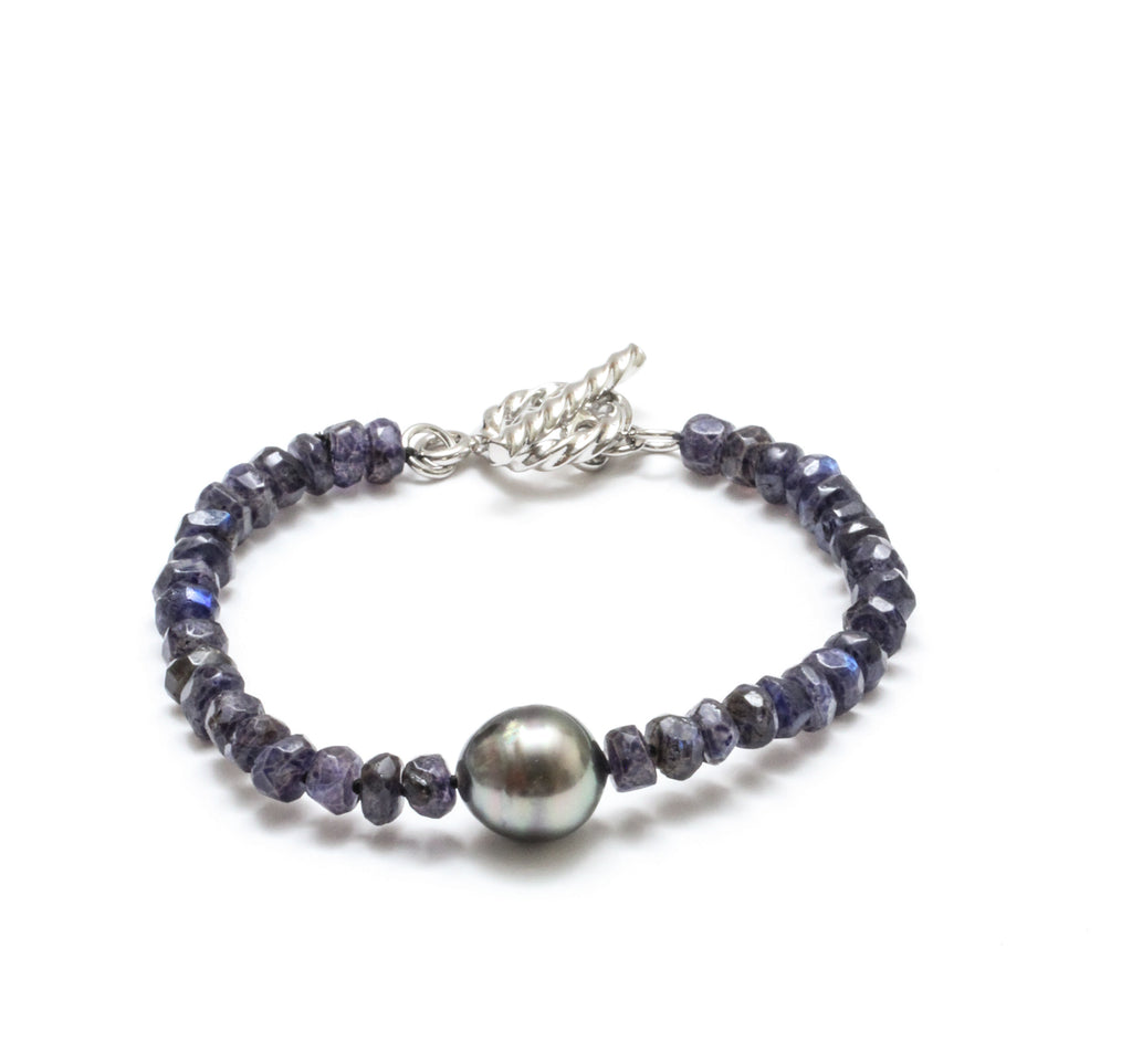Tahitian Pearl and Faceted Blue Labradorite Toggle Bracelet