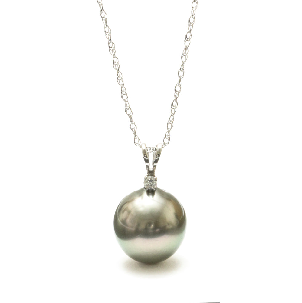 Holiday Special 10MM Tahitian Pearl Pendant with diamond