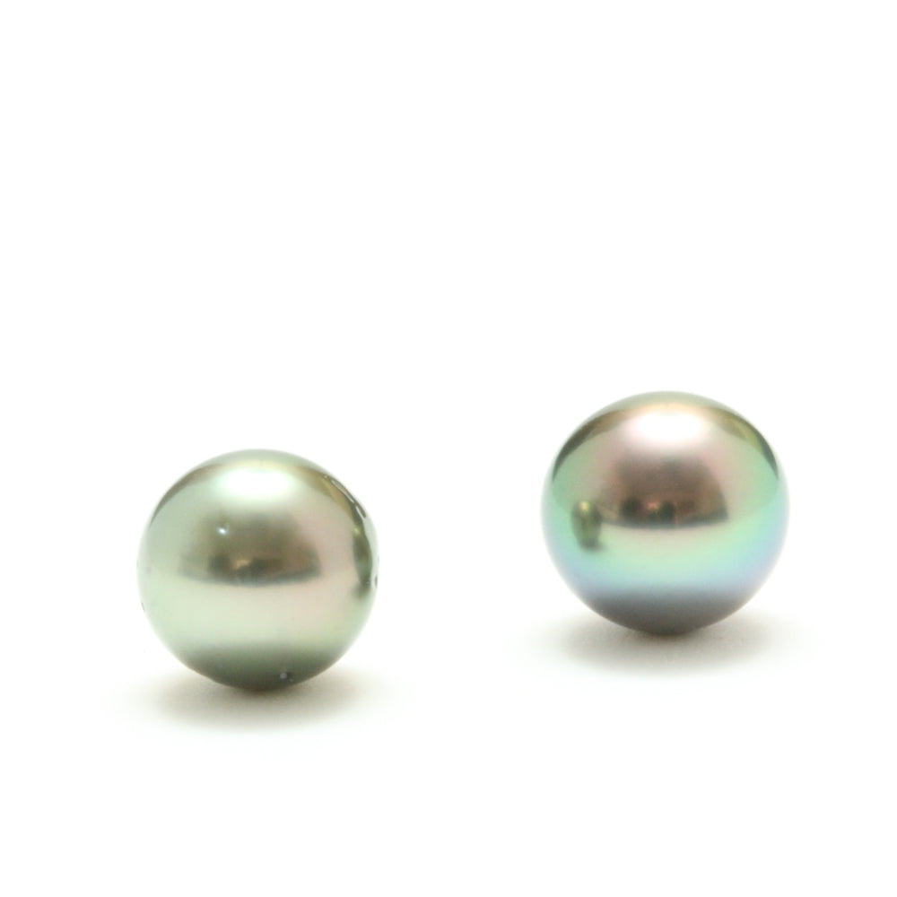 Limited Edition Natural Pistachio- Peacock Tahitian Pearl Earrings