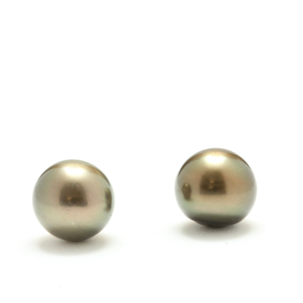 Limited Edition Natural Dark Copper Tahitian Pearl Earrings