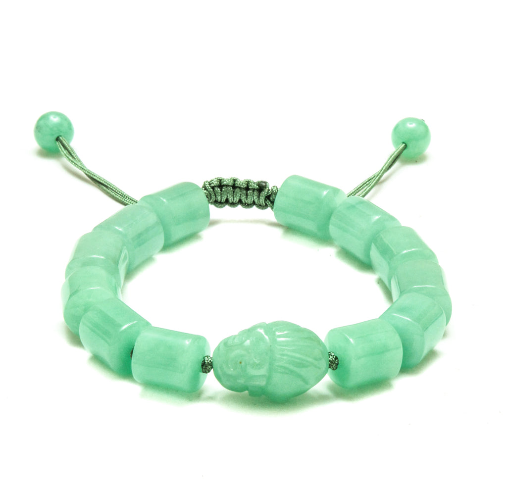 Green Jade Laughing Buddha Adjustable Bracelet