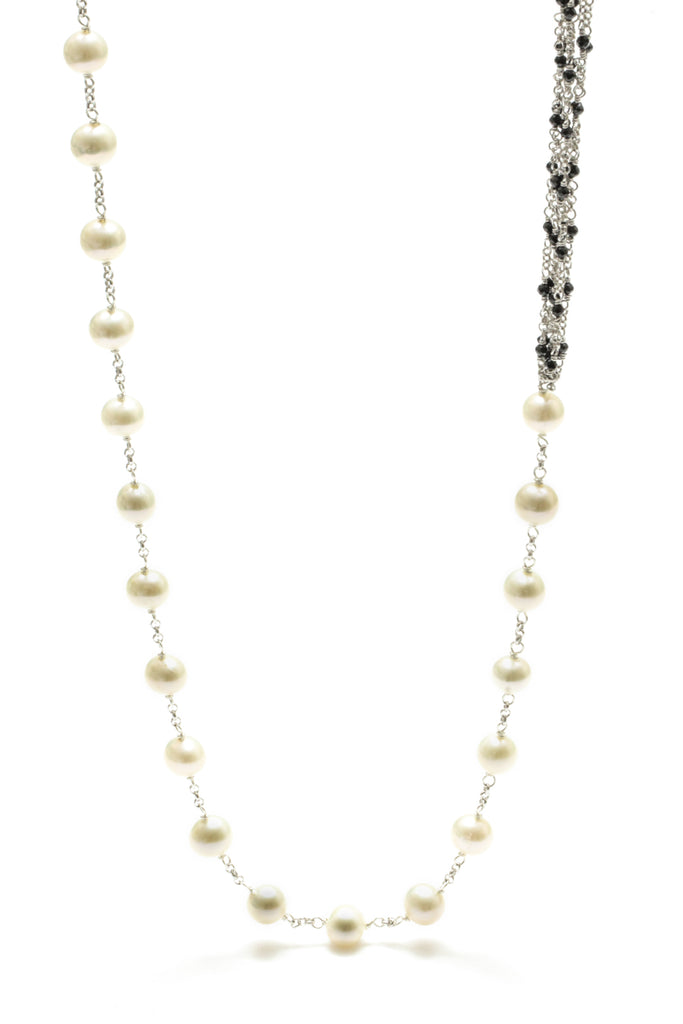 "36"" Freshwater Pearl and Spinel Hand Wraped Necklace"