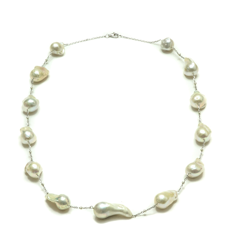 "30"" 13-15MM Baroque Pearl Station Necklace"