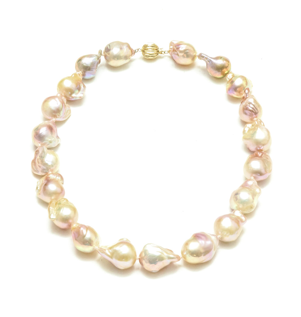 "14K 18"" 15-17MM Natural Pink Baroque Pearl Necklace"