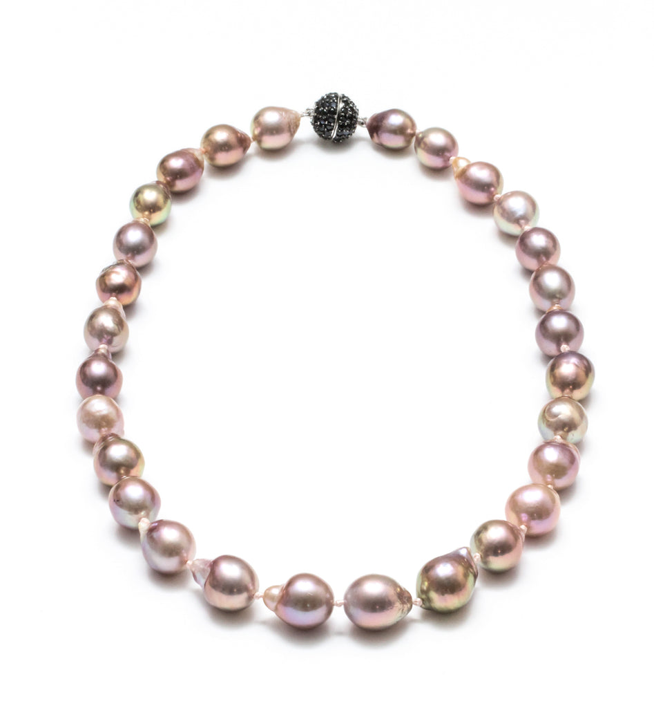 "18"" 12-15MM Natural Metallic Pink Baroque Freshwater Pearl Necklace with spinel clasp"