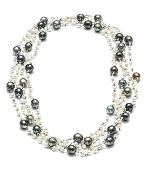 "92"" 8-9MM Tahitian Pearl and Freshwater Pearl necklace"