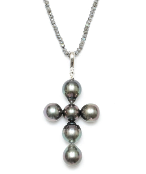 10-12MM Tahitian Pearl Removable Cross Pendant