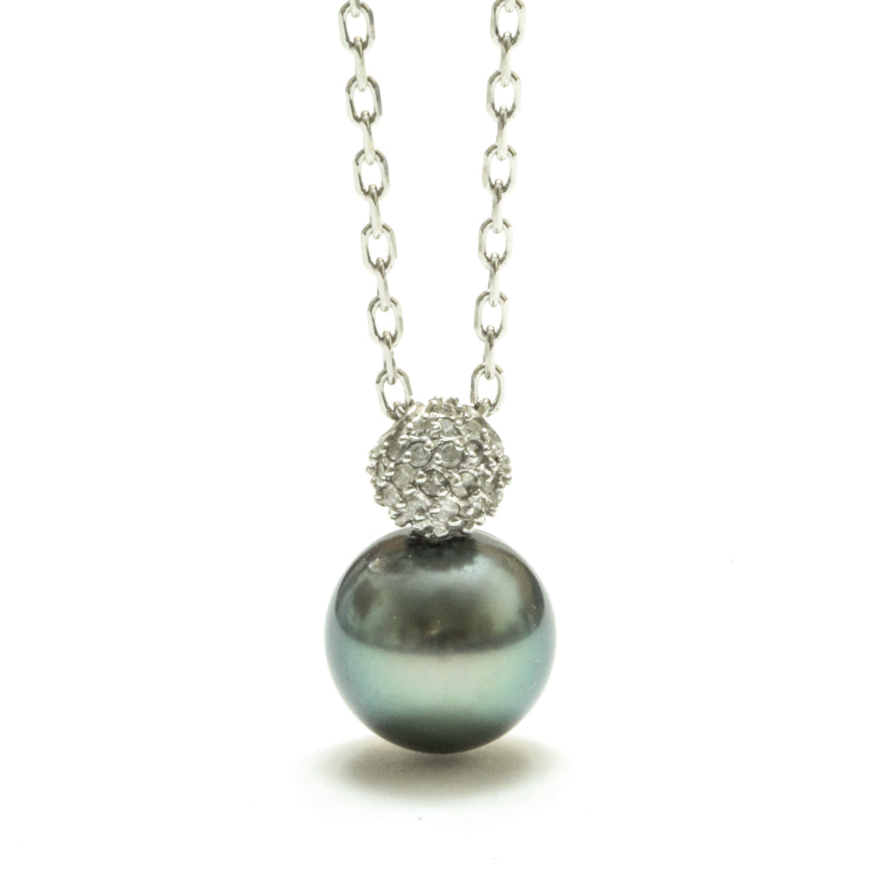 11MM Tahitian pearl and diamond pendant