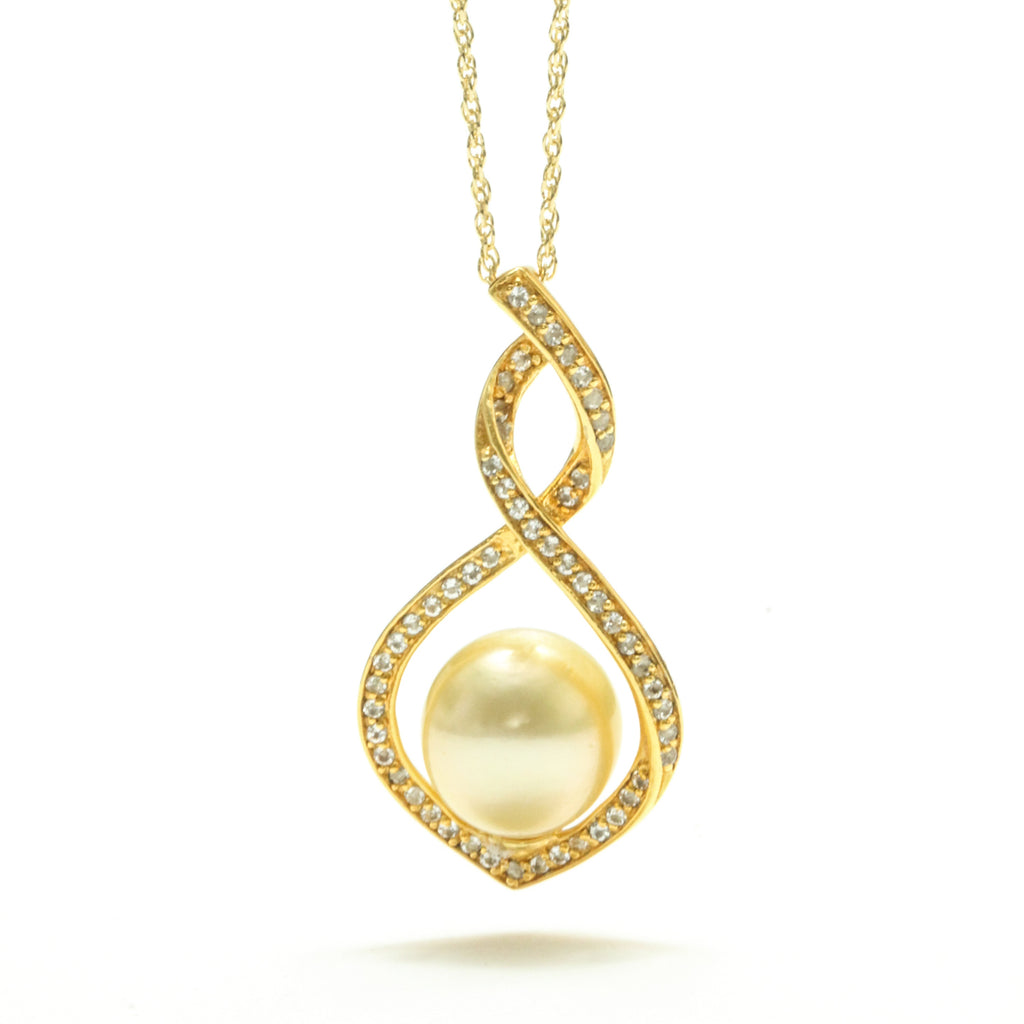 9MM Golden South Sea Pearl & White Topaz Pendant