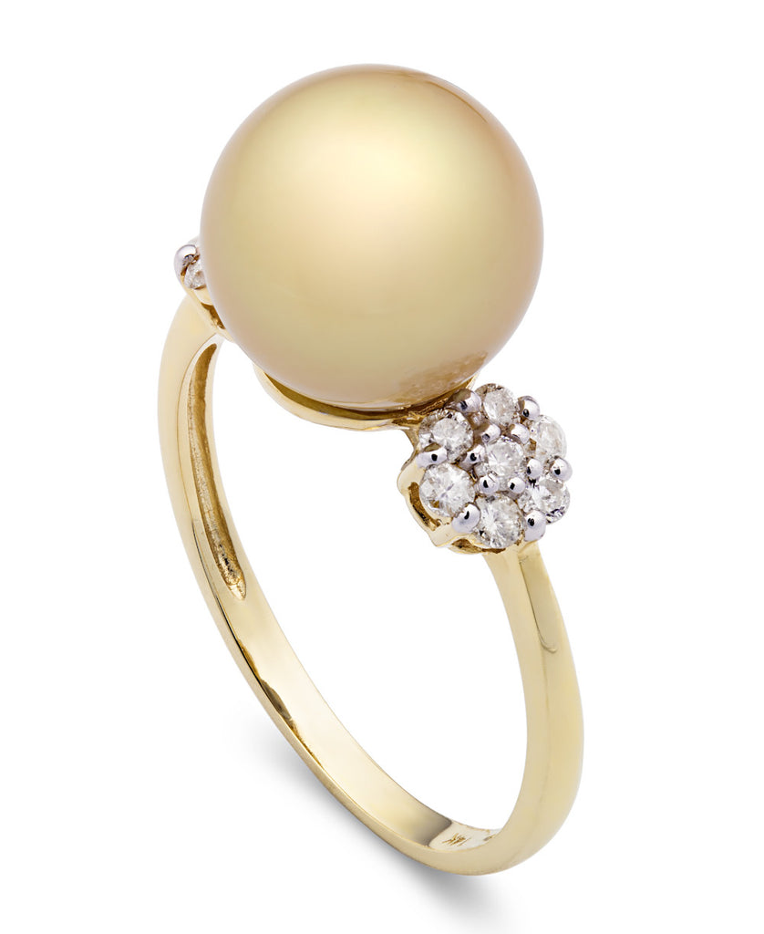 Golden South Sea Pearl and Diamond Pave Ball Ring