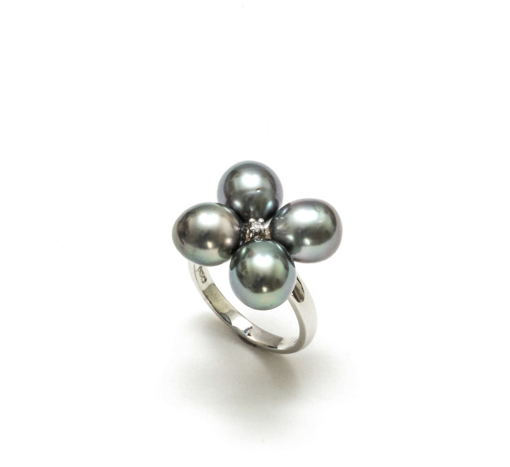 Tahitian Pearl & Diamond 4 Leaf Clover Ring