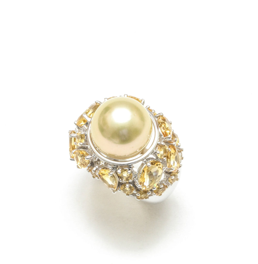 13MM Philippine Golden South Sea Pearl and Citrine Ring