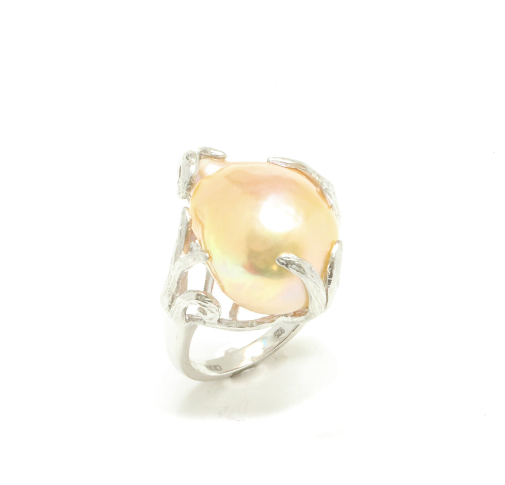 13MM Natural Pink Baroque Pearl Ring