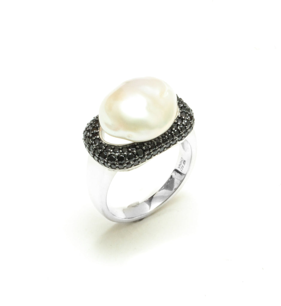 12-13MM Baroque Freshwater Pearl & Black Spinel Ring