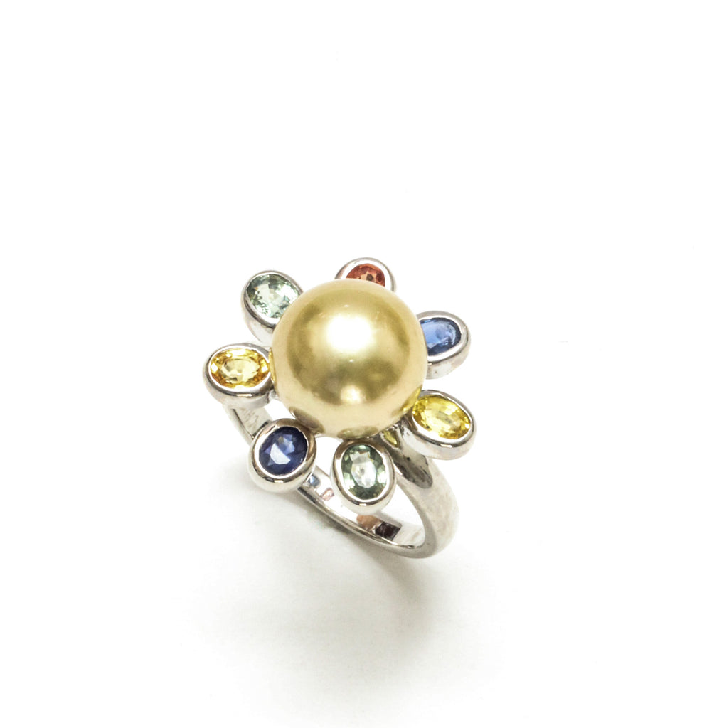 10MM Philippine Golden South Sea Pearl and Sapphire ring