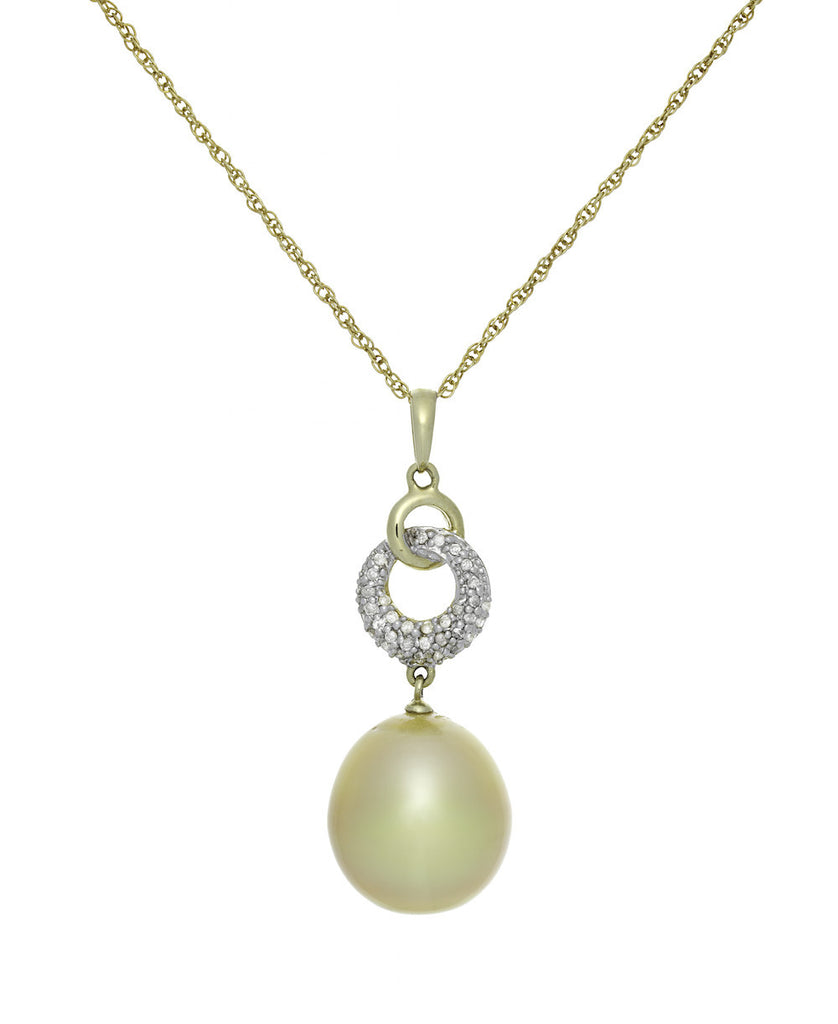 Golden South Sea Pearl and Diamond Pendant