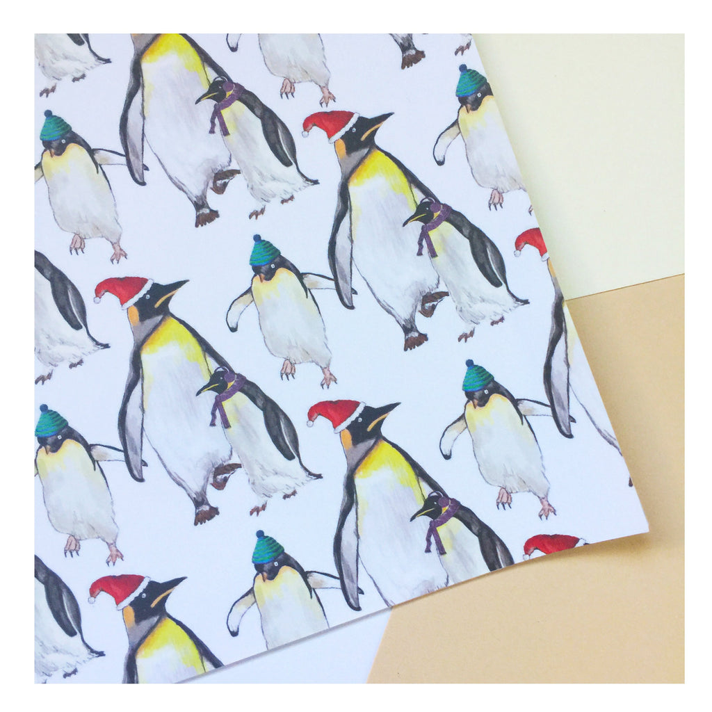Christmas Penguin | Gift Wrap | Illustrated Animals