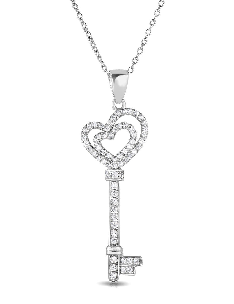 Sterling silver cubic zirconia double heart key pendant necklace 18 sterling silver cubic zirconia double heart key pendant necklace 18 aloadofball Image collections