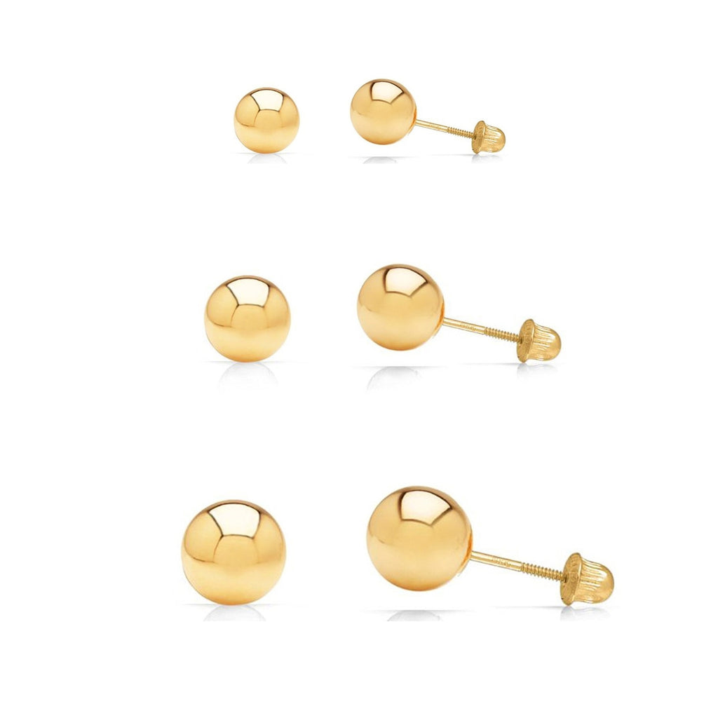 69bd58b26 3 Pair Set 14k Yellow Gold Ball Stud Earrings 3mm, 4mm, 5mm with Secur –  Art and Molly