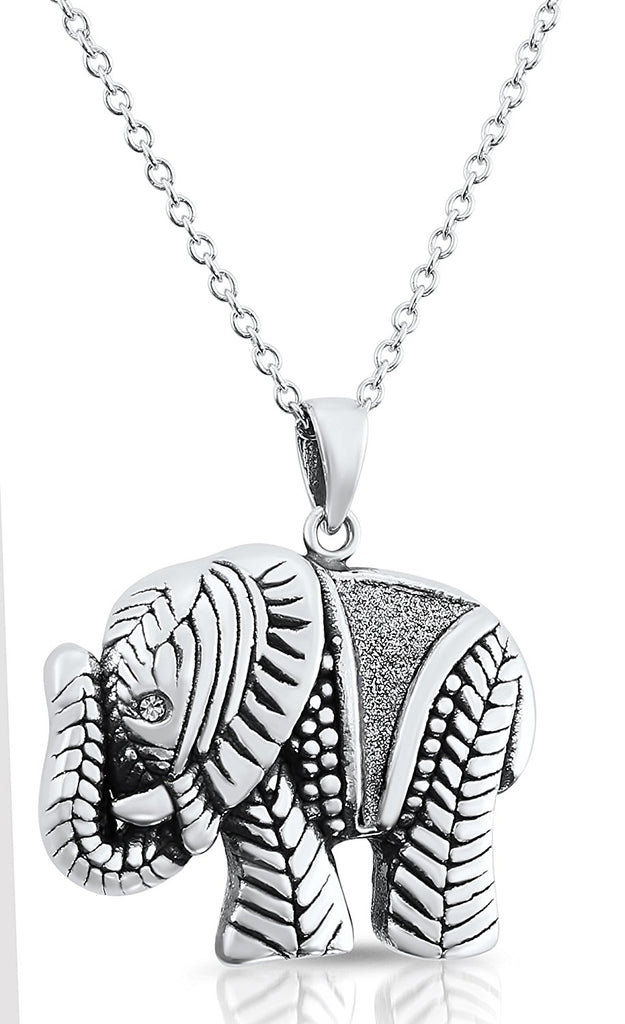 Sterling silver elephant pendant necklace with glitter finish18 sterling silver elephant pendant necklace with glitter finish18 inch mozeypictures Image collections