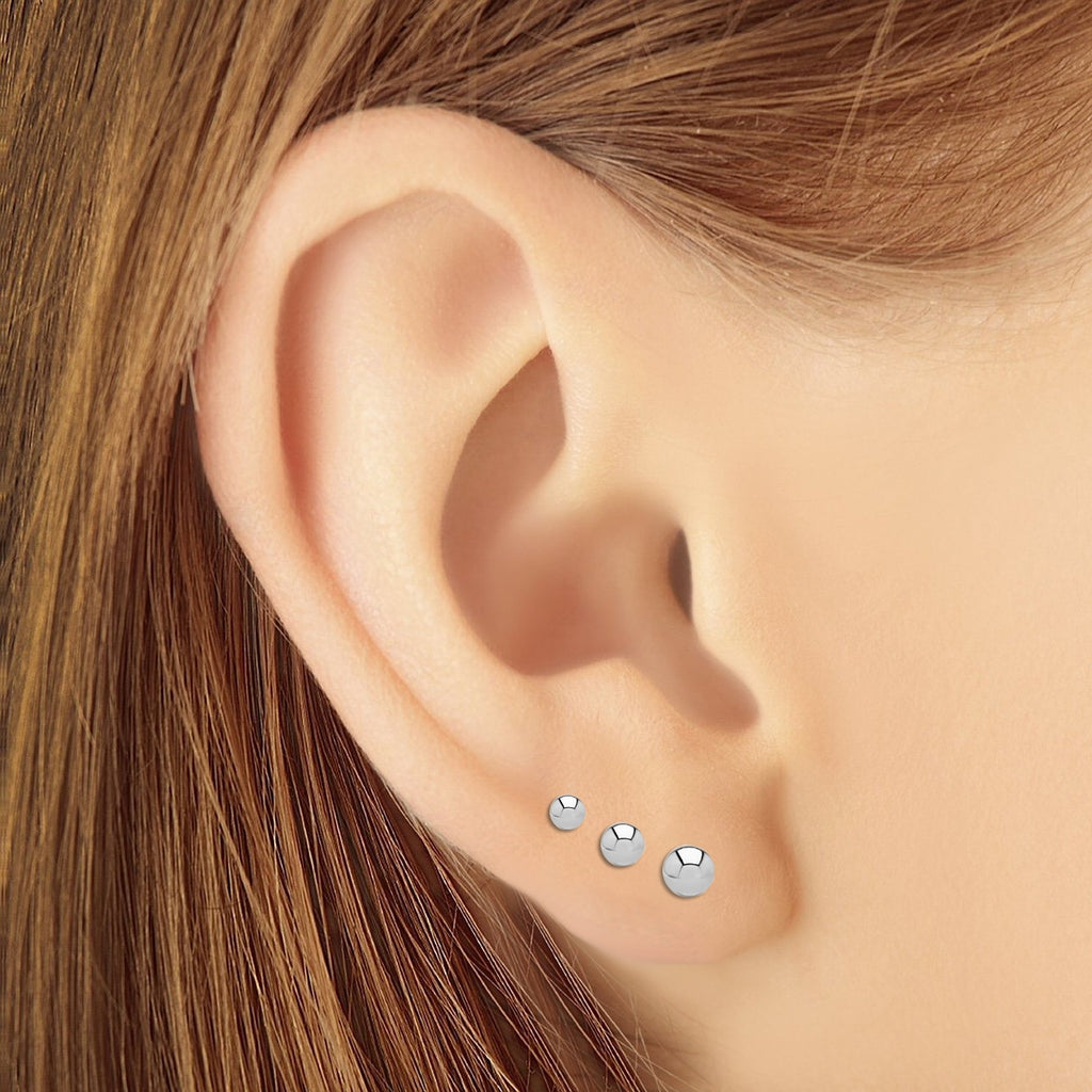 2ac8b81c5 ... 3 Pair Set 14k White Gold Ball Stud Earrings 3mm, 4mm, 5mm with Secure  ...