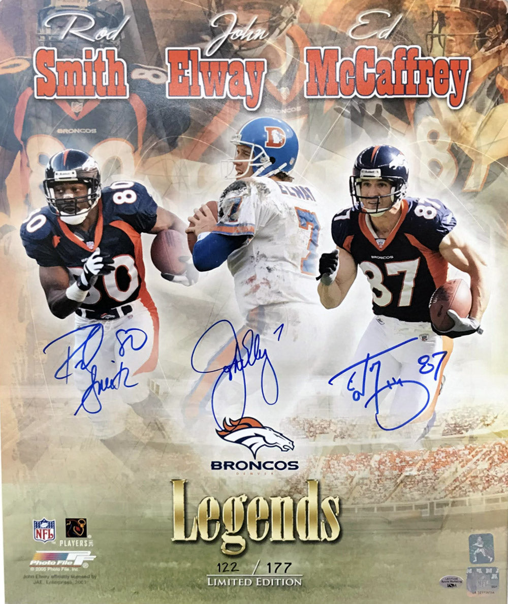 Denver Broncos Legends John Elway/Rod Smith/Ed McCaffrey Triple Signed 16x20 Photo
