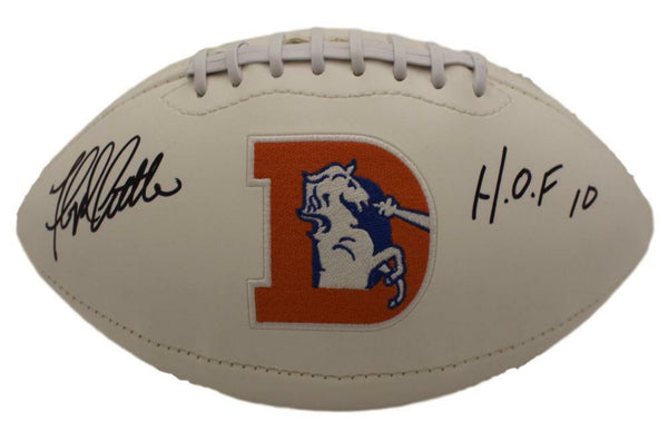 Floyd Little Autographed Broncos Football with HOF Inscription LSM JSA COA