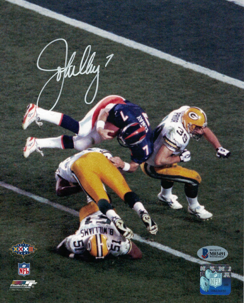 John Elway Signed Helicopter Shot 8x10 Photo - Latitude Sports Marketing