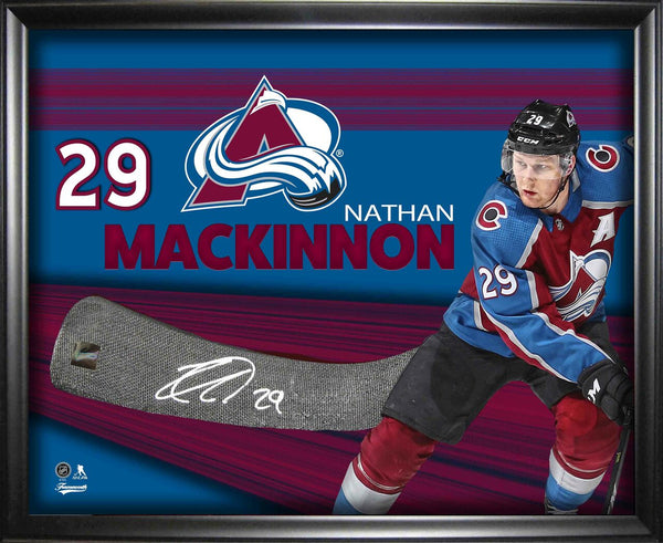Nathan MacKinnon Signed Stick Blade with Photo Shadowbox Deluxe Frame LSM FRAMEWORTH COA