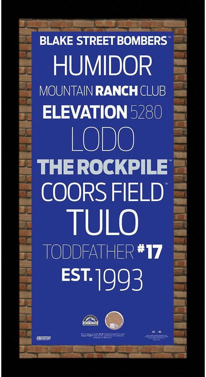 Colorado Rockies Subway Sign Wall Art 9.5x19 Frame With Coors Field Dirt - Latitude Sports Marketing