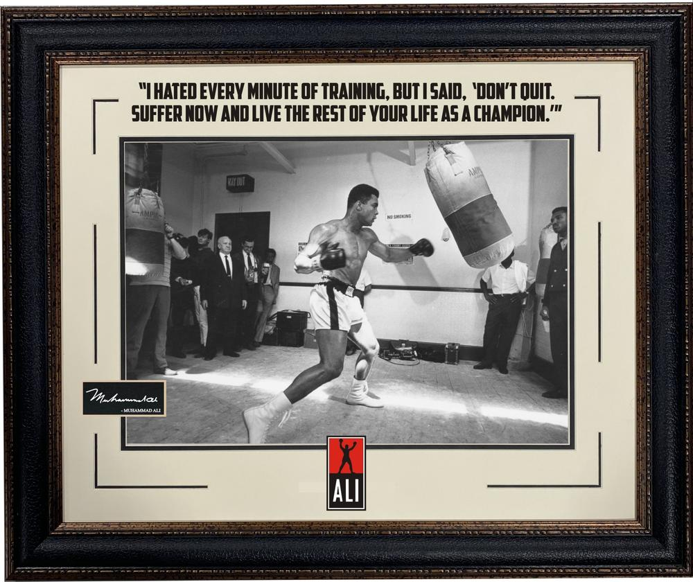 Muhammad Ali Training Photo with Quote & Laser Engraved Signature