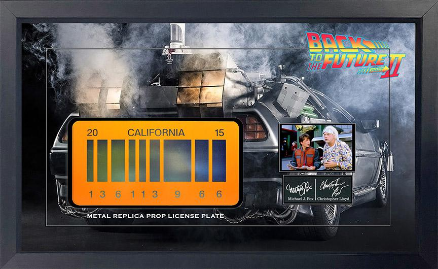 Back To The Future Replica Metal Prop License Plate Framed