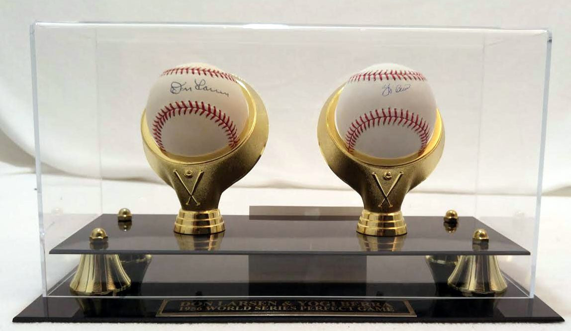 Yogi Berra & Don Larsen Autographed Baseballs with Case