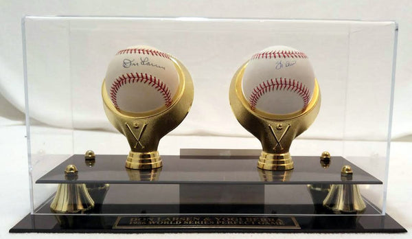 Yogi Berra and Don Larsen Signed Baseballs with Case