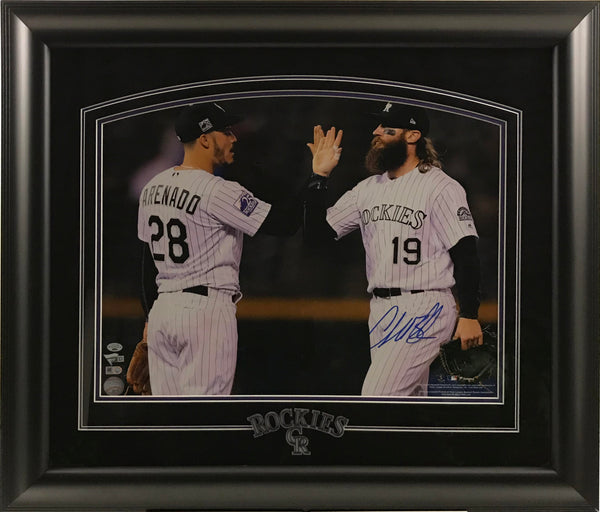 Charlie Blackmon Signed and Framed 16x20 Photo (High Fiving Arenado)