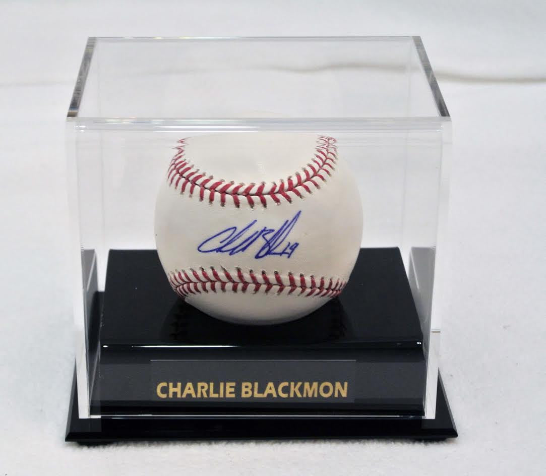Charlie Blackmon Signed Baseball with Case and Nameplate
