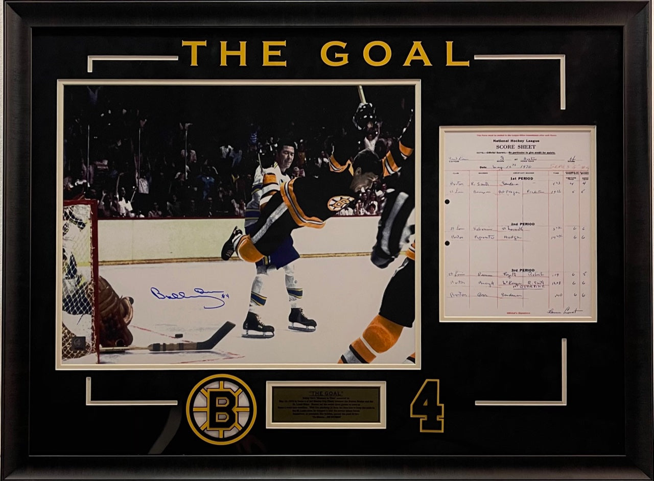 Bobby Orr Signed 16x20 Photo Framed with Score Sheet LSM Great North Road COA