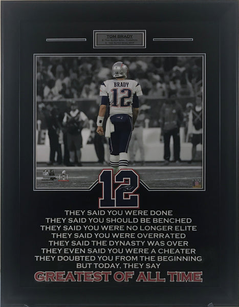 Tom Brady Framed Photo with Greatest of All Time Quote