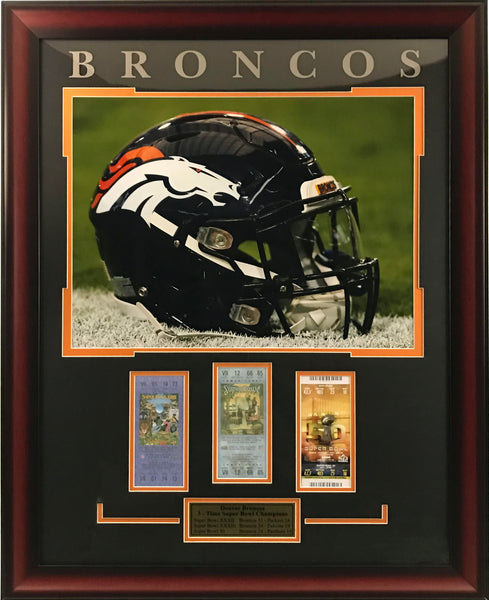 Denver Broncos Framed 16x20 Photo with Replica Tickets
