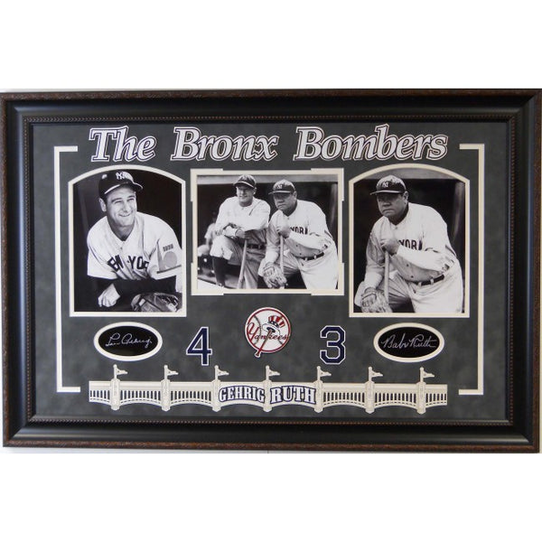 """Bronx Bombers"" Lou Gehrig and Babe Ruth Framed Collage with Laser Signatures"