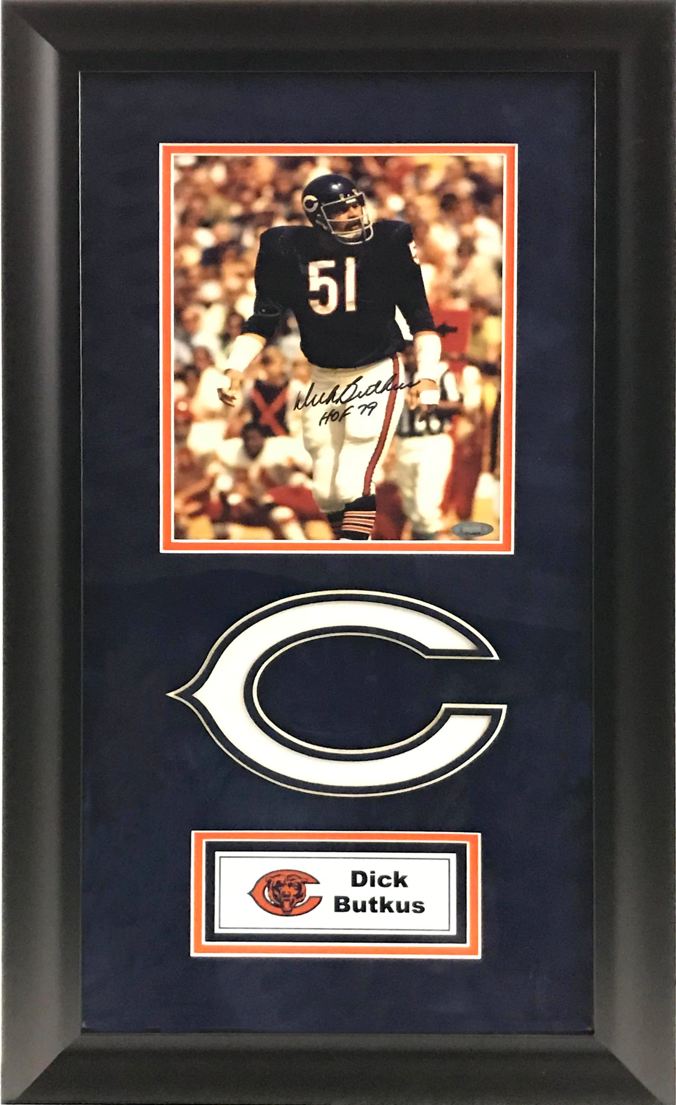 Dick Butkus Signed and Deluxe Framed 8x10 Photo - Latitude Sports Marketing