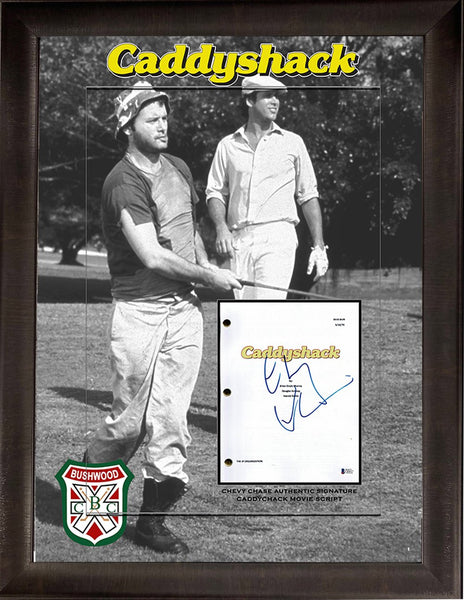 Caddyshack Movie Script Chevy Chase Hand-Signed Deluxe Framed JSA COA